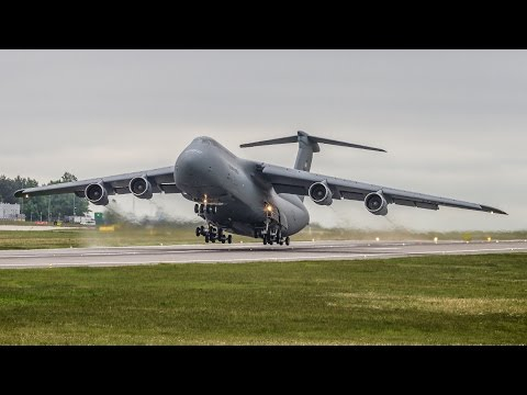 Insane Screamer | USAF - Lockheed C-5B Galaxy incredible SHORT take off from Gdansk Airport !!