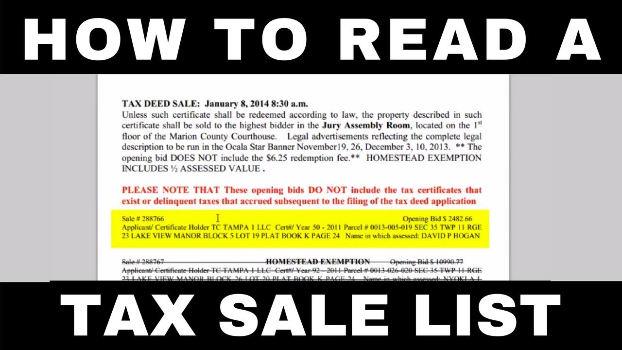 How To Read A Tax Deed Sale List Youtube