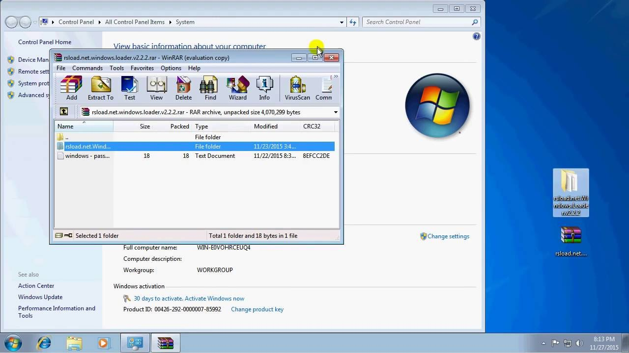 how to remove windows 7 build 7601