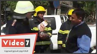 الحماية المدنية تعلم المواطنين استخدام طفاية الحريق احتفالا باليوم العالمى