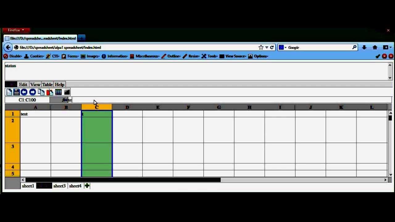 alpa1 spreadsheet (using javascript, css and html)