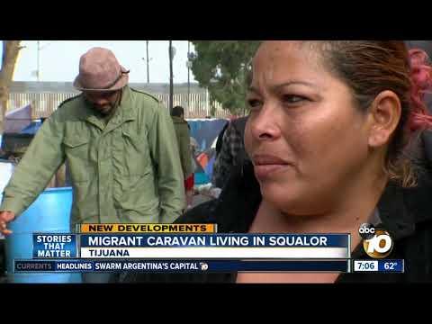 Migrant caravan living in squalor in Tijuana