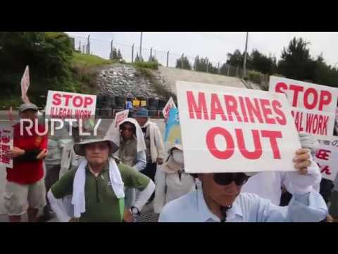 Japan: 'Marines out!' Protesters picket US military base over relocation project
