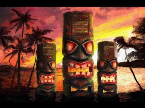 James Cattlett TIKI ART paintings of Tiki totems and tiki masks painted in a Impressionist style.
