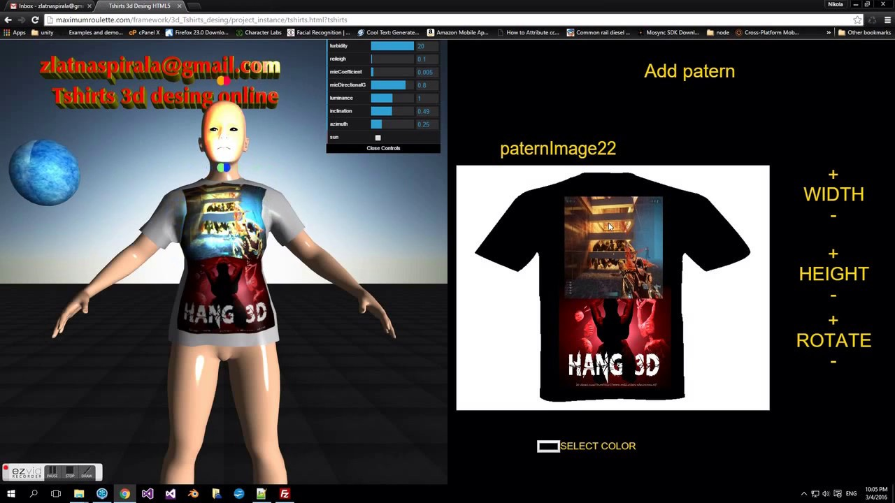 Tshirts 3d design HTML5 source code