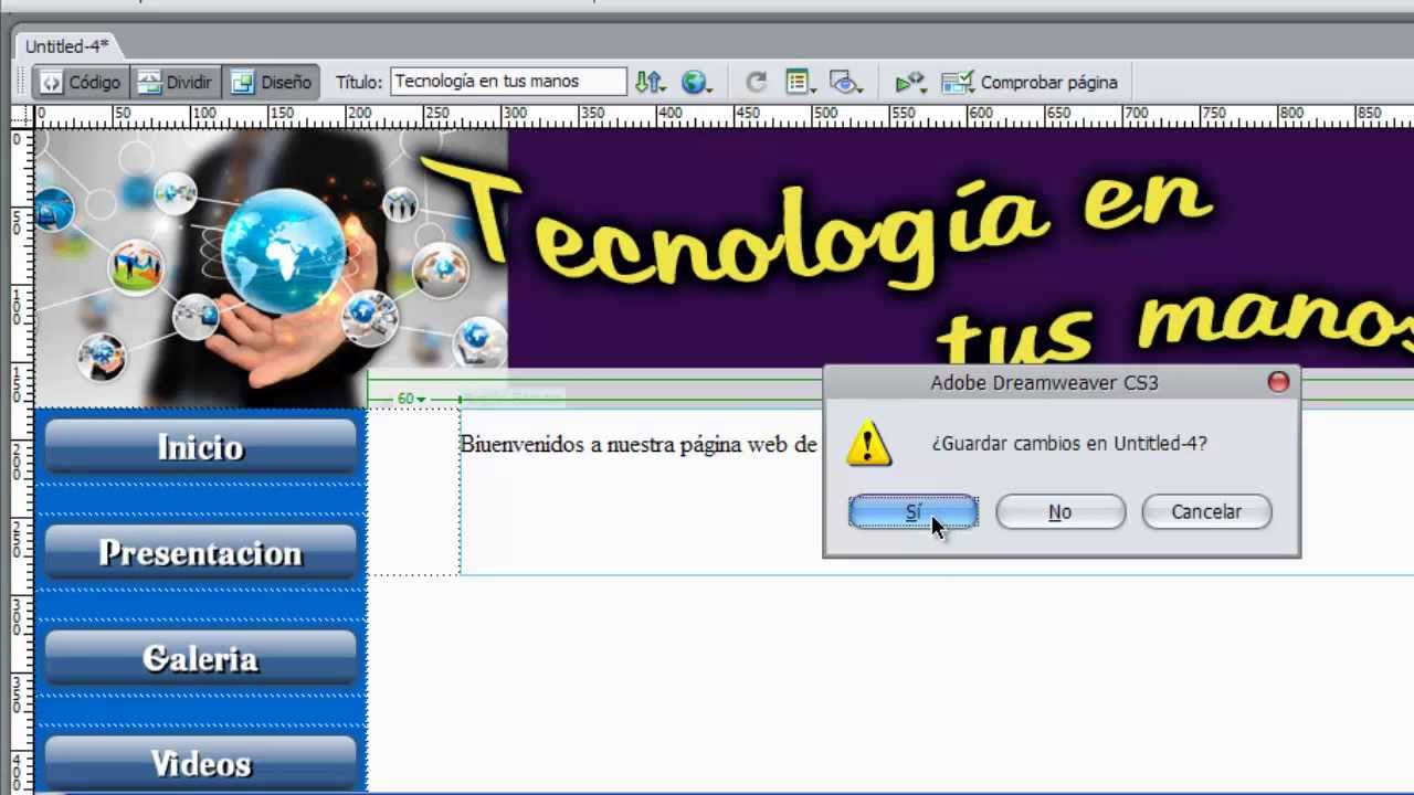 Tutorial 06 - Crear una Plantilla en Dreamweaver Cs3 - YouTube
