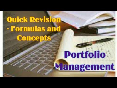 Portfolio Management (Part 2) - Quick Revision (Formulas and Concepts)