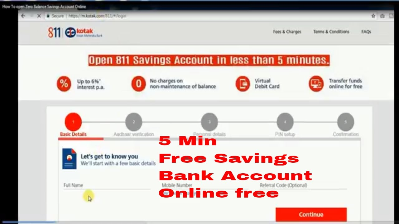 How To Open Zero Balance Kotak Bank Savings Account Online Within 5