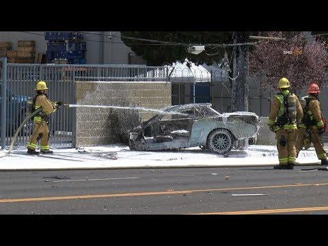 Alleged street racing crash splits classic Mustang in half sending two to hospital, Monrovia, Ca.