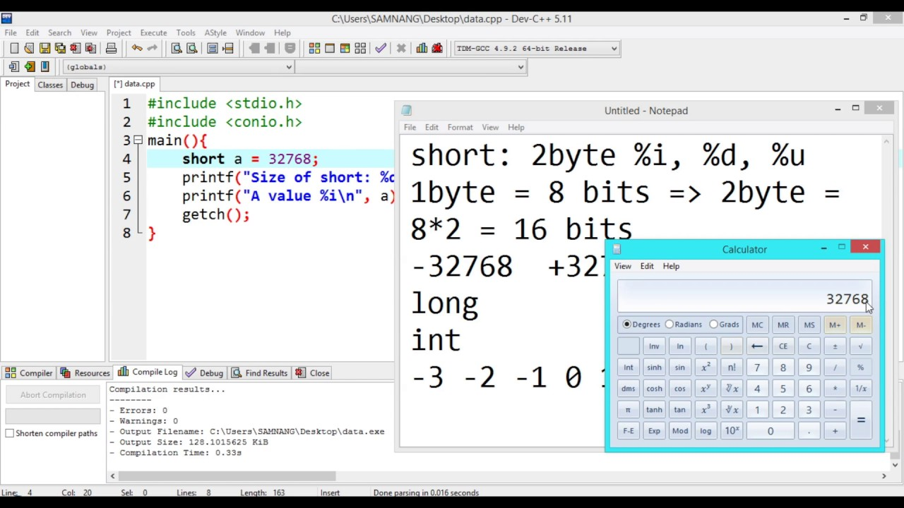 02  C Programming: Data type short, long and int   Khmer Computer Knowledge