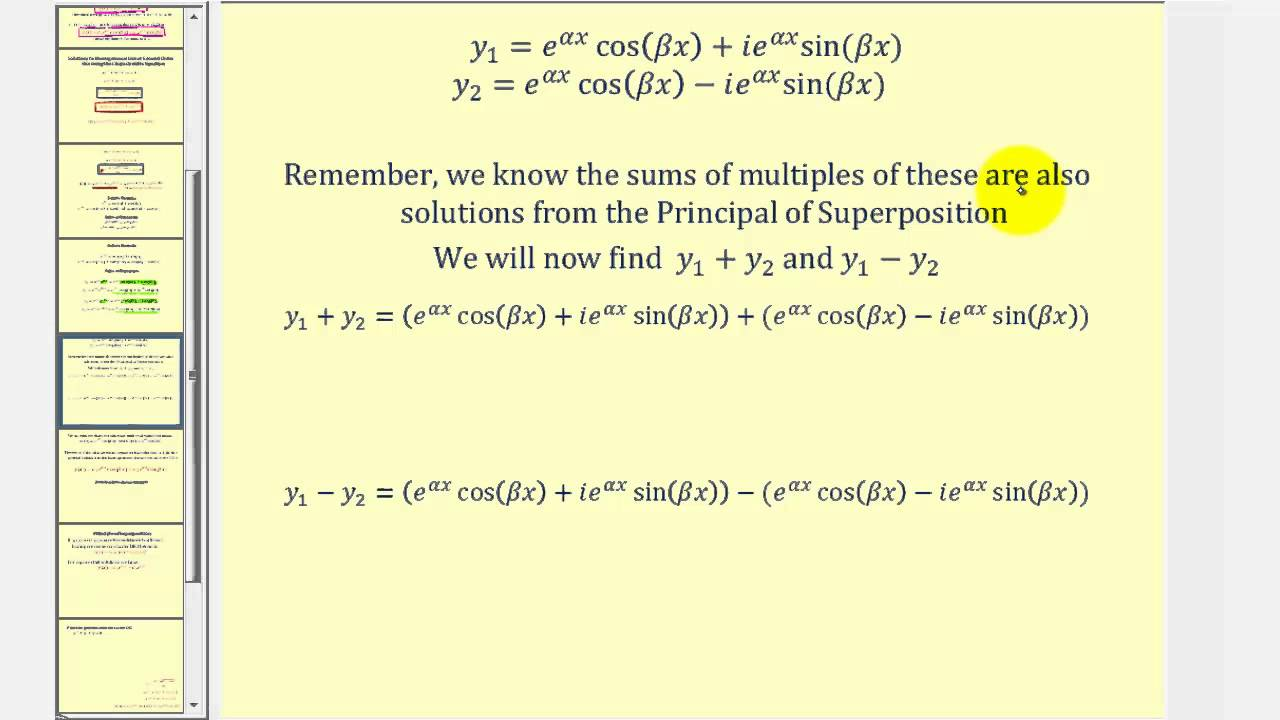 Linear Second Order Homogeneous Differential Equations - (complex ...