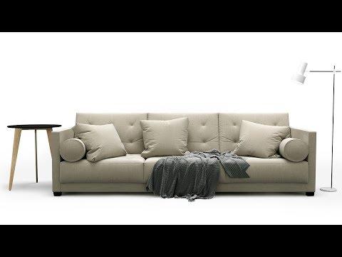 """№5  Sofa Modeling """"Flexform Le Canape"""" Autodesk 3ds Max & Marvelous Designer & Render Settings"""