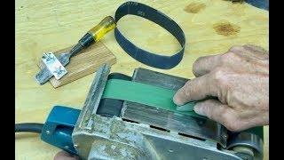 My Whizbang Belt-Sander Chisel-Sharpening Jig
