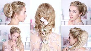 видео Прическа на свадьбу своими руками - легкие прически на короткие или длинные волосы