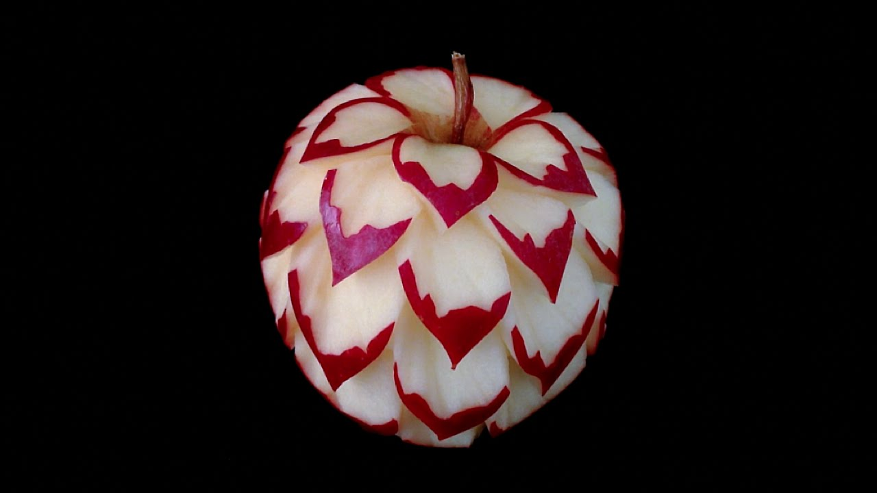 Fruits and vegetables carving designs - Art In Apple Flower Design Intermediate Lesson 24 By Mutita Art Of Fruit And Vegetable Carving Youtube