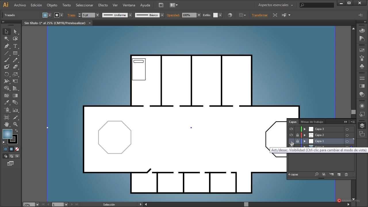 Illustrator 117 consejos para crear planos libres for Programa para disenar oficinas