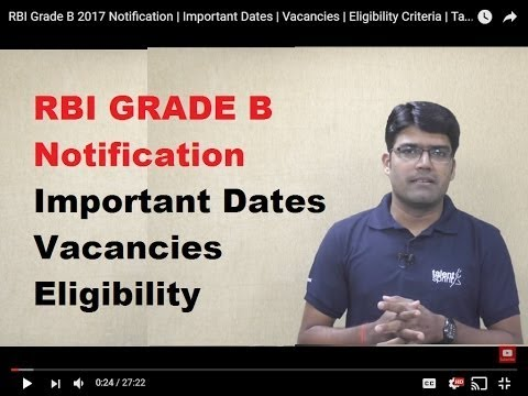 RBI Grade B 2017 Notification | Important Dates | Vacancies | Eligibility Criteria | TalentSprint