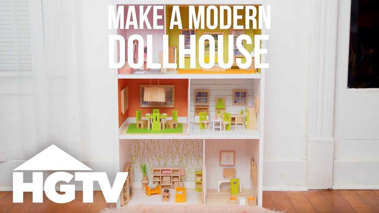 Turn A Bookshelf Into Modern Dollhouse