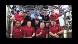 STS-133 Discovery - Flight Day 8 - Face in Space Thanks