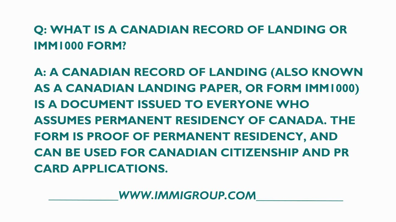 What Is A Canadian Record Of Landing Or Imm Form