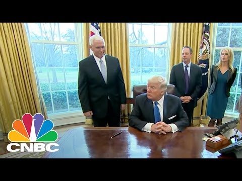 President Trump Ignores Question About Standing Rock Sioux After Signing Dakota Access Order | CNBC