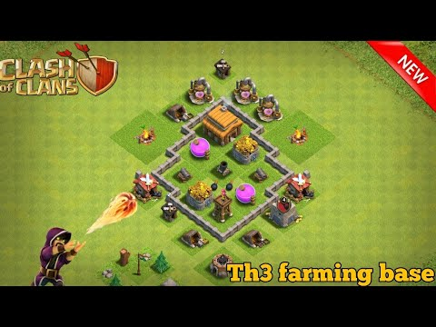 Clash Of Clans Town Hall 3 Base || Th3 Farming Base ||anti Giant With New Update