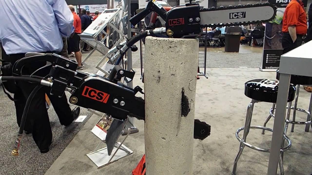 How to ics pipe diamond chain saw cuts concrete