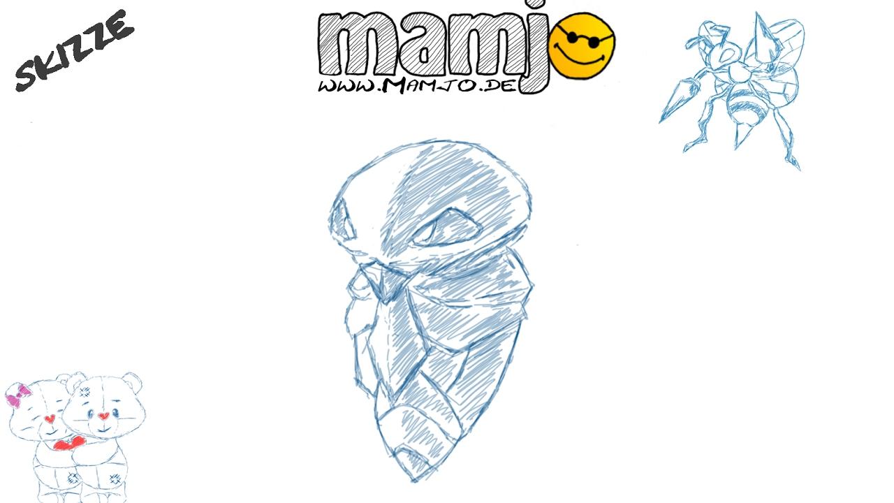 Pokemon Kokuna Skizze Zeichnung zeichnen Tutorial online kurs - YouTube