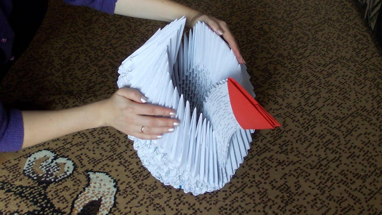 3D origami giant (big) swan (cygnet) tutorial - YouTube - photo#46