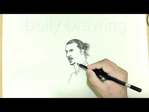 How to draw Zlatan football player on paper / Daily Drawing