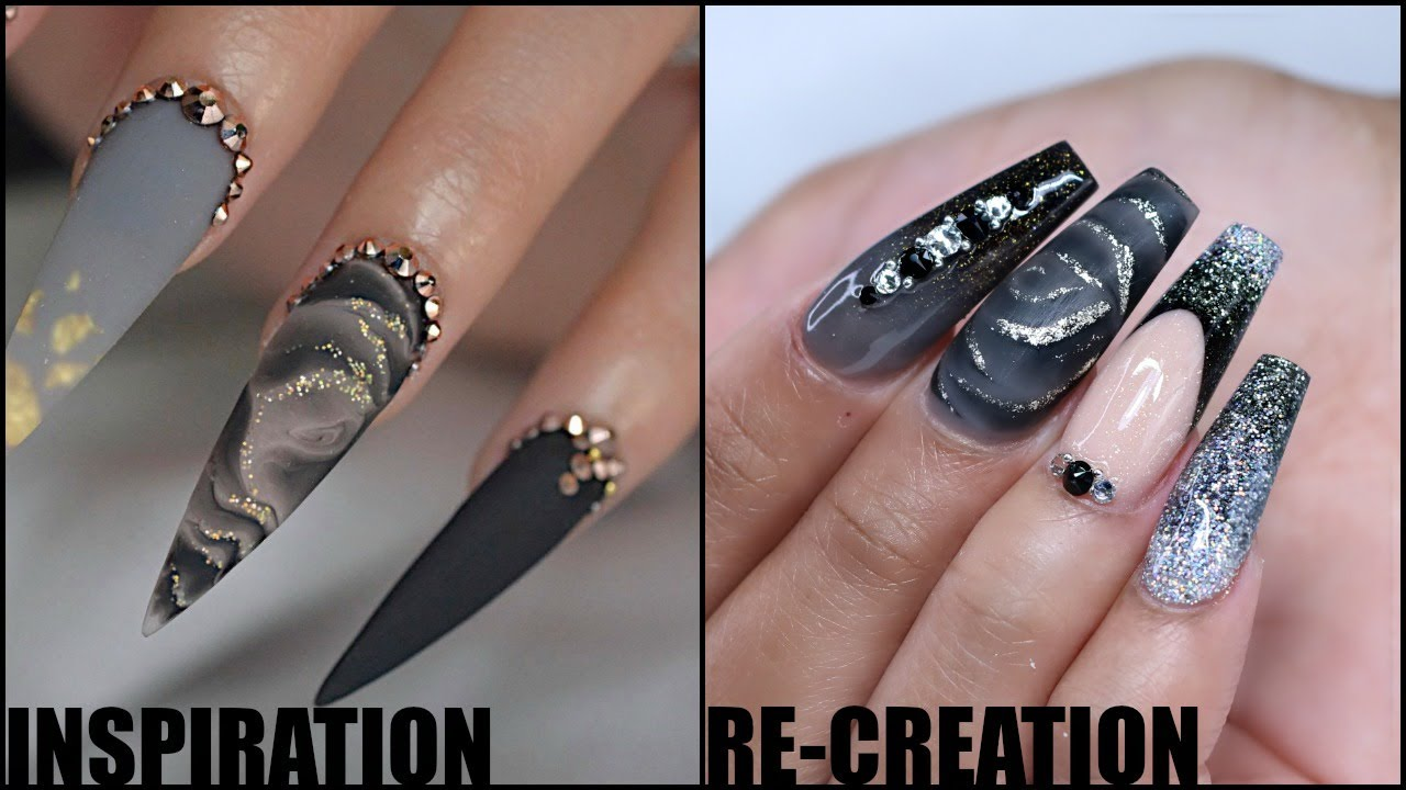 Acrylic Nail Tutorial Watch Me Work Black Melted Rose Recreation Youtube
