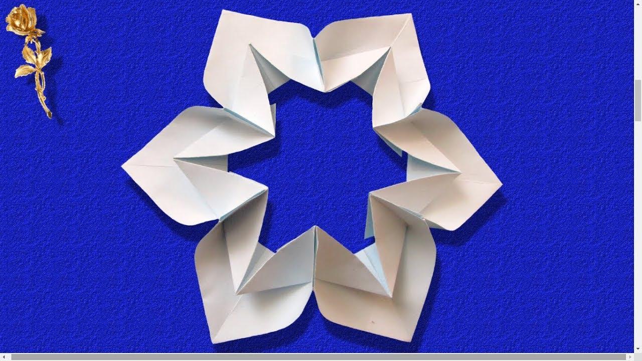 origami facile modulaire flocon de neige fleur youtube. Black Bedroom Furniture Sets. Home Design Ideas