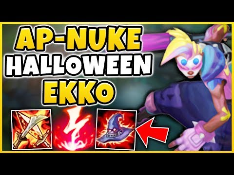 *NEW* AP-NUKE HALLOWEEN EKKO SKIN SPOTLIGHT! TRICK OR TREAT EKKO ONE-SHOTS! - league of Legends