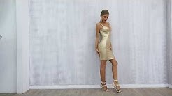 2019 New Summer Women Bodycon Bandage Dress Vestidos Elegant Gold V Neck Spaghetti Strap Club Dress