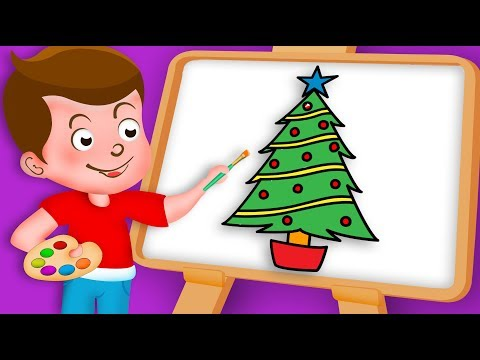 Drawing Christmas tree Paint And Colouring For Kids | Kids Drawing TV