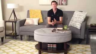 Belham Living Coffee Table Storage Ottoman With Shelf – Gray - Product Review Video
