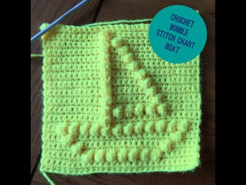 How to crochet a square with bobble stitch chart -  Boat