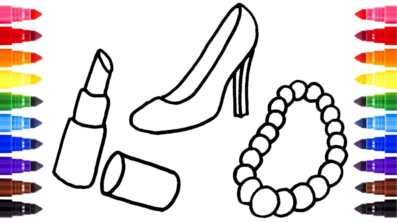 how to draw set of female accessories coloring pages for girls shoes lipstick handbag necklace