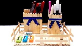 Membuat Tempat Pensil Keren Dari Kayu Stik Es Krim (DIY)