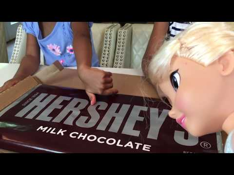 Thumbnail: Giant Hershey Milk Chocolate Bar! Huge Surprise Candy w/ Frozen Elsa Anna | Naiah and Elli Toys Show