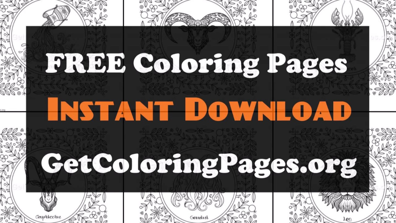 Free Printable Zodiac Coloring Pages Youtube