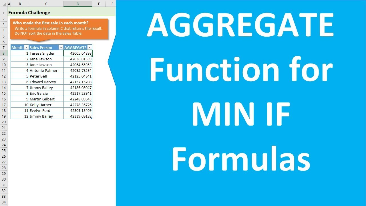 How to use AGGREGATE for MIN IF Formulas in Excel Part 20 of 20
