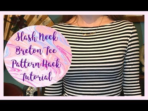 DIY Breton Top: Slash Neck Pattern Hack Tutorial And Stripe Matching Sewing Tips