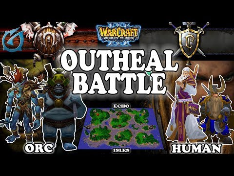 Grubby   Warcraft 3 TFT   1.30   HU v ORC on Echo Isles - Outheal Battle