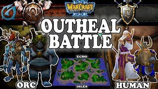 Grubby | Warcraft 3 TFT | 1.30 | HU v ORC on Echo Isles - Outheal Battle
