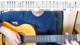 Guitar lesson -Tango  - La cumparsita -  Guitar fingerstyle tutorial + TAB
