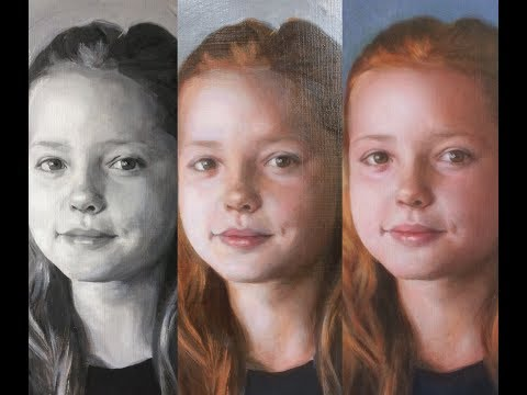 2 of 3, Glazing, grisaille technique, real time, portrait painting demonstration