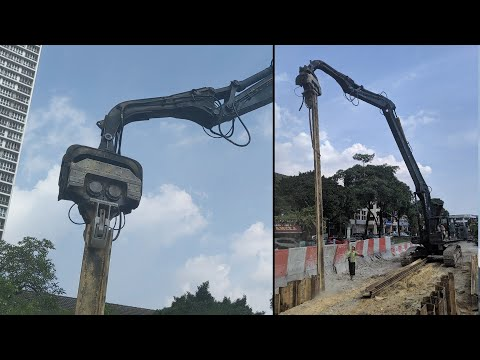 Sheet Pile Installation With Vibro Excavator