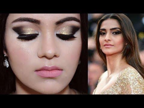 SONAM KAPOOR Cannes 2017 Makeup Tutorial HINDI   Gold Smokey Eyes