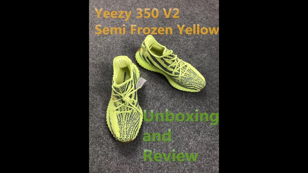 da27123caaf Adidas Yeezy Boost 350 V2 Semi Frozen Yellow Unboxing - YouTube